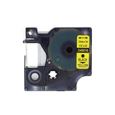 Huismerk DYMO S0720580/45018 D1 Tape Zwart op Geel 12mm