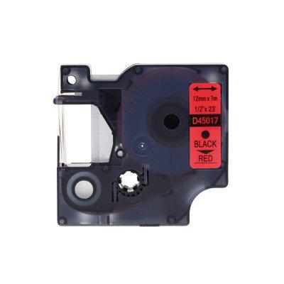 Huismerk DYMO S0720570/45017 D1 Tape Zwart op Rood 12mm