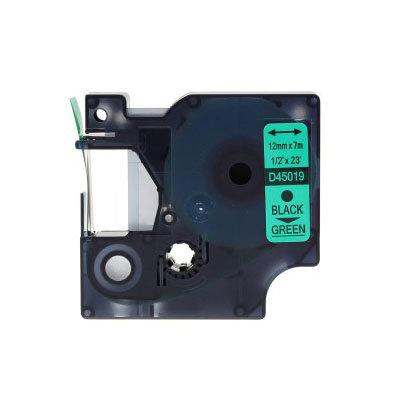 Huismerk DYMO S0720590/45019 D1 Tape Zwart op Groen 12mm