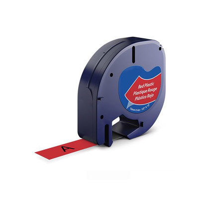 Huismerk DYMO LetraTag Lettertape Zwart Op Rood Plastic 12mmx4mtr. S0721630 (91203)