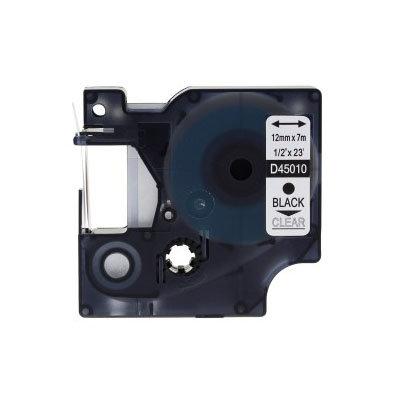 Huismerk DYMO S0720500/45010 D1 Tape Zwart op Transparant 12mm
