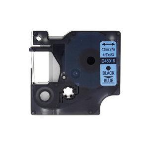 Dymo D1 tape zwart op blauw 12mm