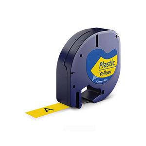 Huismerk DYMO LetraTag Lettertape Zwart Op Geel Plastic 12mmx4mtr. S0721620 (91202)