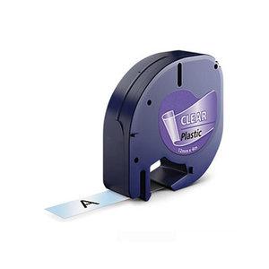Huismerk DYMO LetraTag Lettertape Zwart Op Transparant Plastic 12mmx4mtr. S0721530 (12267)