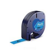 Huismerk DYMO LetraTag Lettertape Zwart Op Blauw Plastic 12mmx4mtr. S0721650 (91205)