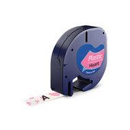 Huismerk DYMO LetraTag Lettertape Zwart Op Wit Met Roze Hartjes Plastic 12mmx4mtr. S0721613 (91208)