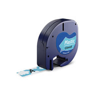 Huismerk DYMO LetraTag Lettertape Zwart Op Wolk Blauw Plastic 12mmx4mtr. S0721612 (91207)